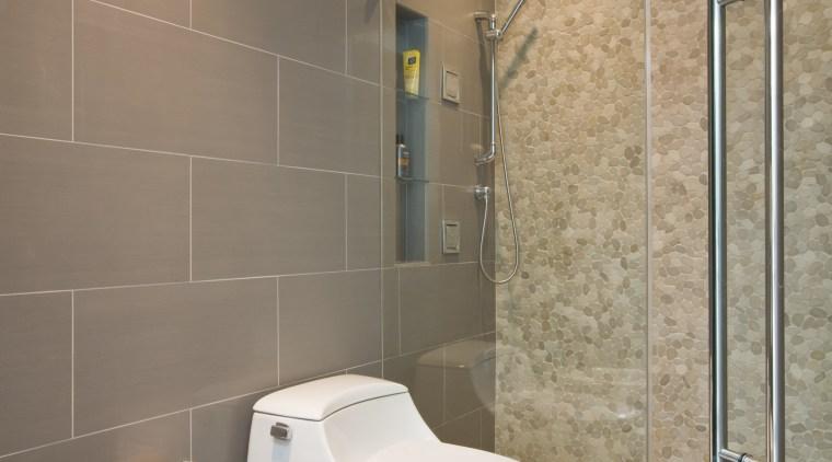 Master bathroom in contemporary townhouse renovation bathroom, floor, interior design, plumbing fixture, room, tile, toilet, toilet seat, wall, gray, brown
