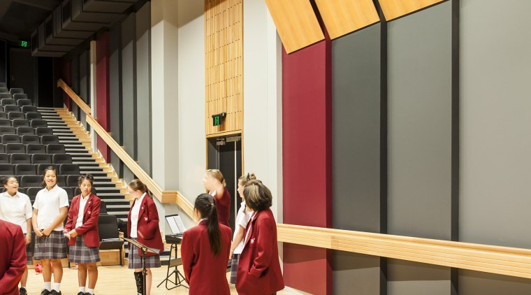 Resene Paints feature throughout the Sacred Heart College flooring, wood, orange