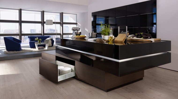 This kitchen is fully equipped with the new floor, flooring, furniture, interior design, table, gray, black