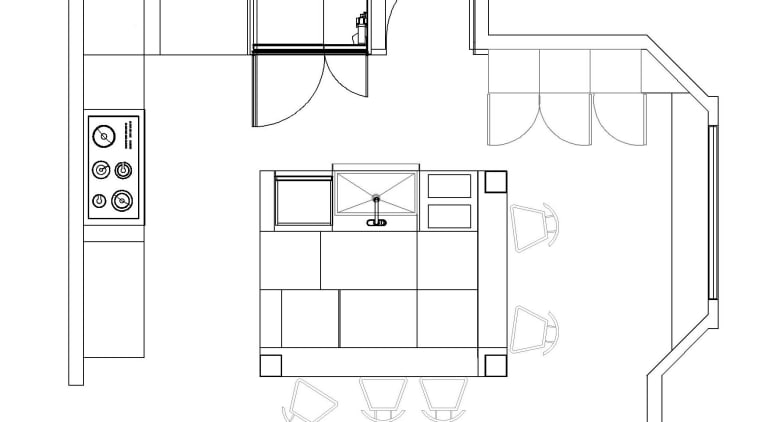 Plan of kitchen with square island angle, area, black and white, design, diagram, drawing, floor plan, font, furniture, line, line art, product, product design, structure, technical drawing, white