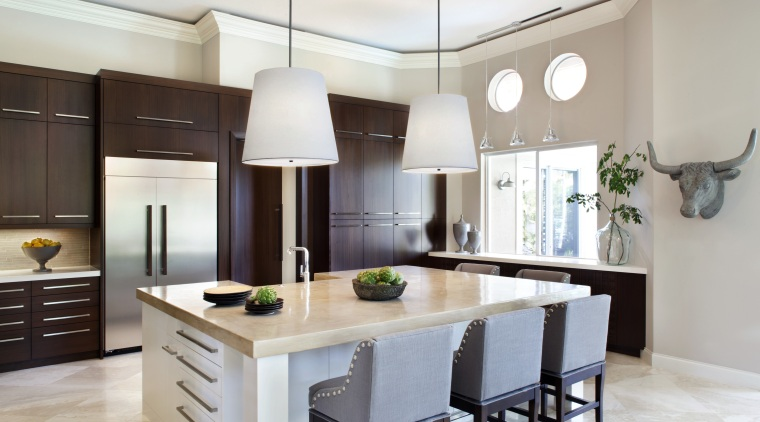 Sleek, streamlined and uncluttered – this remodelled kitchen cabinetry, countertop, cuisine classique, interior design, kitchen, real estate, room, gray