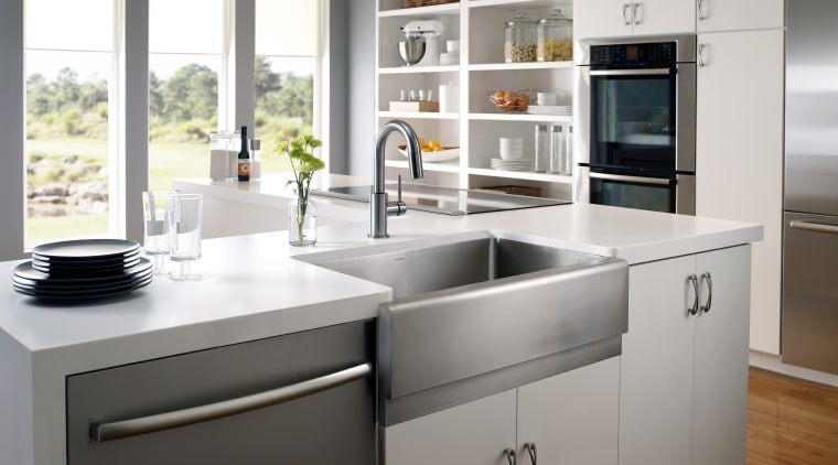 Epicure apron front sink by Houzer cabinetry, countertop, cuisine classique, home appliance, kitchen, kitchen appliance, kitchen stove, product design, white, gray