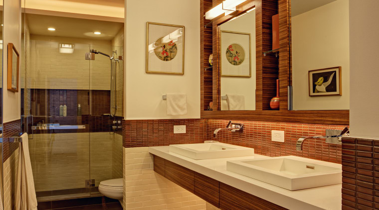 This bathroom by architect and designer Ed Kaplan bathroom, ceiling, estate, floor, flooring, home, interior design, real estate, room, brown, orange
