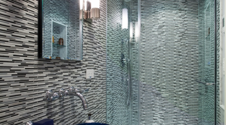 Vibrant horizontal tiles line the shower and a architecture, bathroom, ceiling, daylighting, glass, home, house, interior design, room, tile, gray