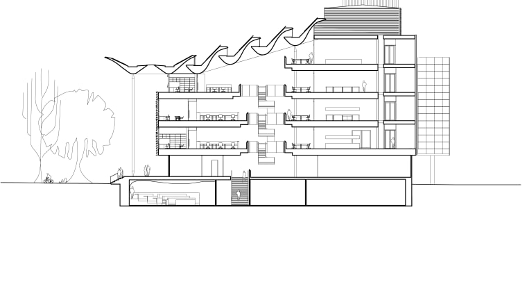 Cross section of Tyree Energy Technologies Building University architecture, area, artwork, black and white, design, diagram, drawing, elevation, floor plan, font, line, line art, plan, product design, structure, technical drawing, text, white