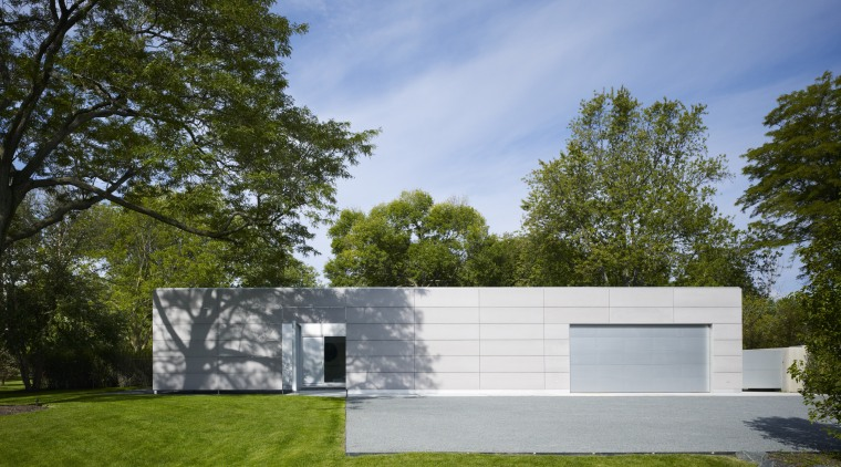 Mature trees cast dramatic shadows onto the walls architecture, backyard, cottage, daylighting, daytime, estate, facade, grass, home, house, landscape, property, real estate, residential area, shed, sky, yard, brown