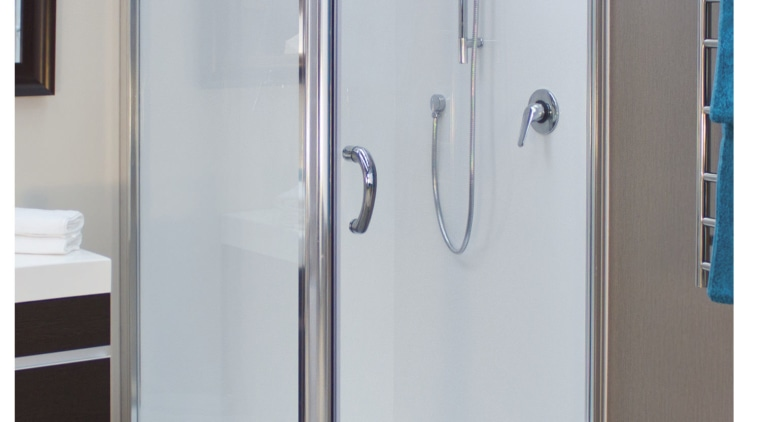 Simple but highly effective – introducing a Showerdome angle, plumbing fixture, shower, shower door, gray