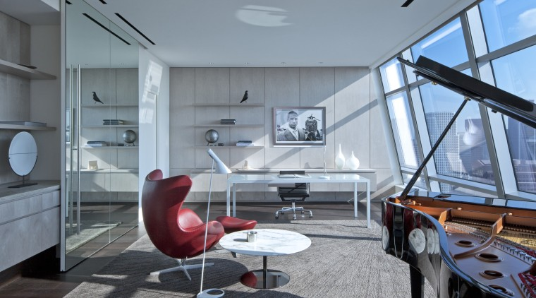 Penthouse interior by architect Stanley Anderson of Moore architecture, house, interior design, gray