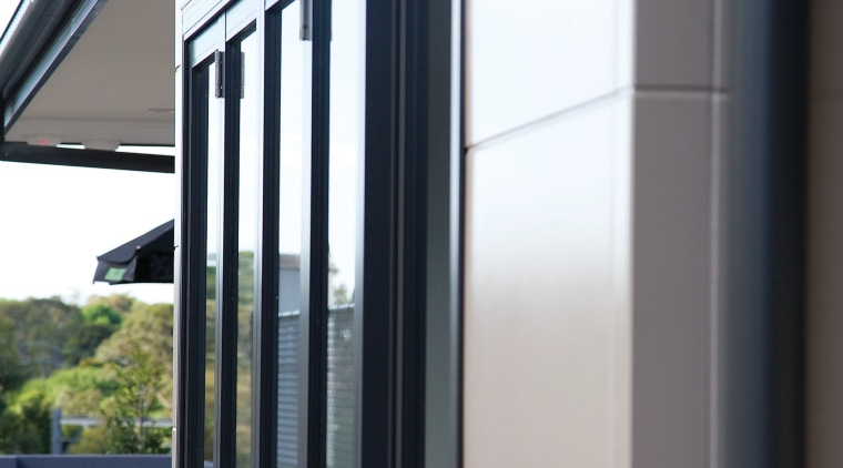 Designer Series panels in Urban Grey have a architecture, door, facade, glass, house, siding, window, white, black