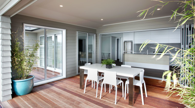 The Aniston Executive is a new four-bedroom family balcony, deck, home, house, interior design, outdoor structure, patio, porch, property, real estate, window, gray