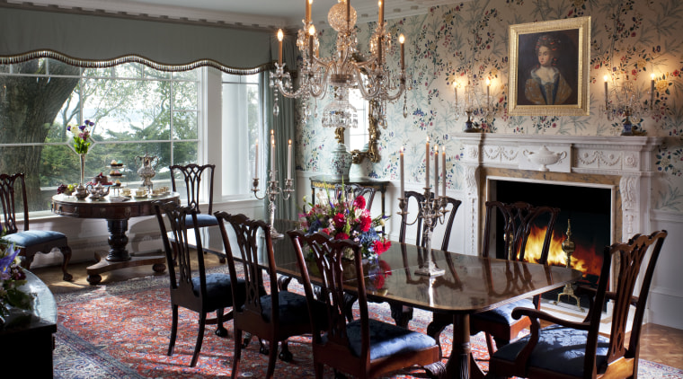 The renovated formal dining room has new windows dining room, furniture, home, interior design, living room, room, table, black, gray