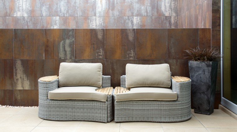 Two seats in the Bermuda outdoor furniture suite angle, chair, couch, floor, flooring, furniture, interior design, living room, loveseat, product design, sofa bed, table, wall, white, gray