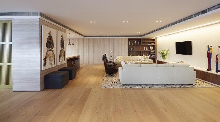 Open plan family living area with cantilevered custom ceiling, floor, flooring, hardwood, interior design, laminate flooring, living room, property, real estate, room, wood, wood flooring, gray, orange