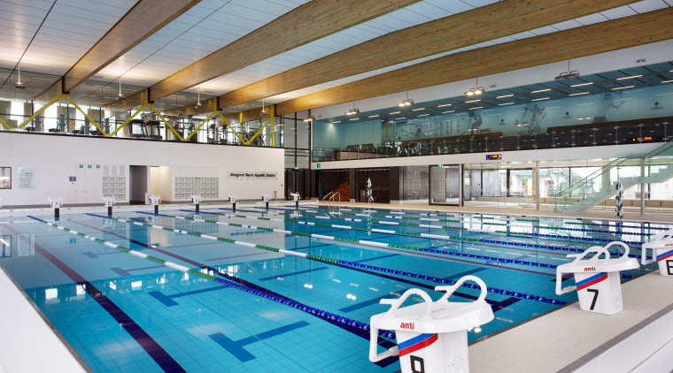 Swimming pool at Margaret Beattie Aquatic Centre, part indoor games and sports, leisure, leisure centre, sport venue, swimming pool, gray