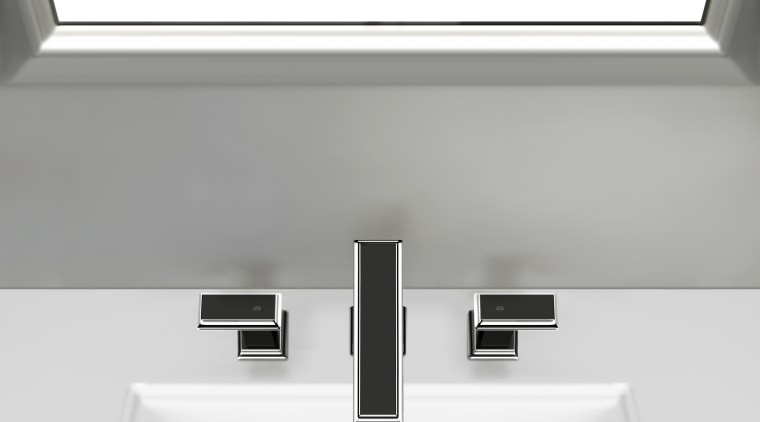Gessi's Fascino solid brass faucets have a streamlined, bathroom sink, plumbing fixture, product, product design, sink, tap, white, gray