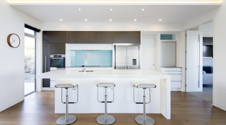 Sleek, simple and easy to use – this countertop, floor, interior design, kitchen, real estate, room, white