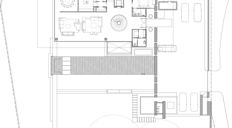 Ground-floor plan of house by Ong&Ong. architecture, area, black and white, design, diagram, drawing, elevation, floor plan, home, house, line, plan, product, product design, property, schematic, structure, technical drawing, white