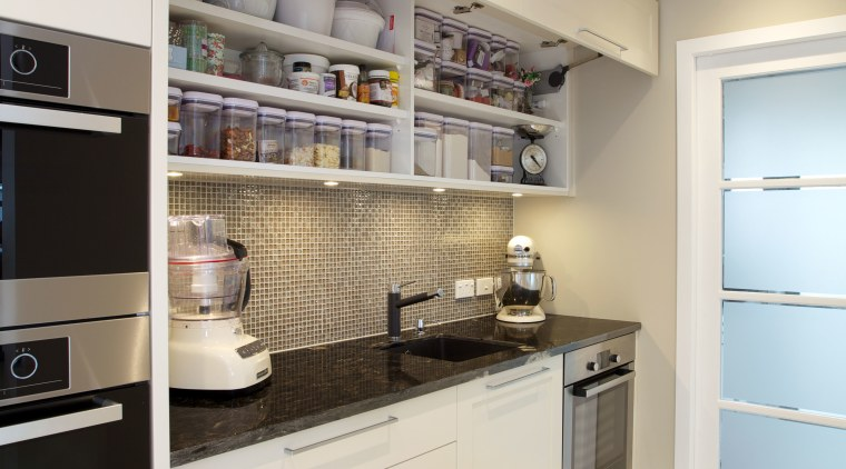 A place for everything and everything in its cabinetry, countertop, cuisine classique, home appliance, interior design, kitchen, real estate, room, gray