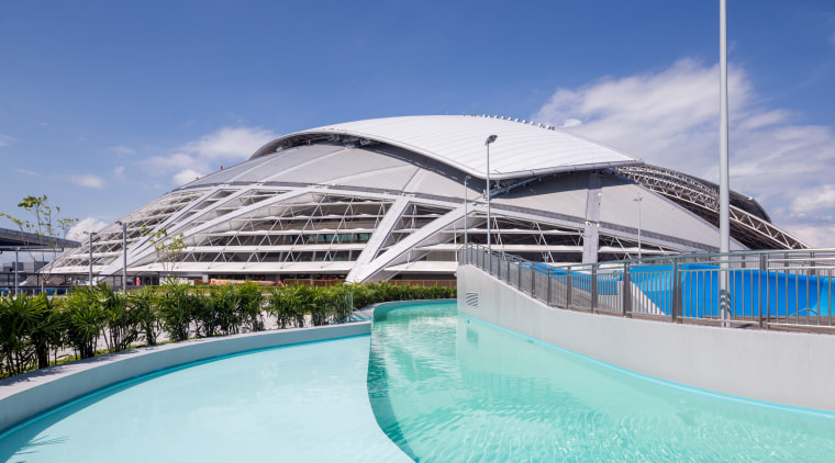 Public amenities at the Singapore Sports Hub include architecture, leisure, resort, sea, sky, swimming pool, vacation, water, blue, teal