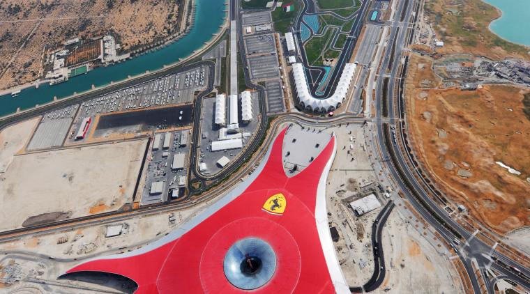 The Ferrari Theme Park features Euramax colour-coated aluminium aerial photography, bird's eye view, city, fixed link, sky, urban area, water, gray