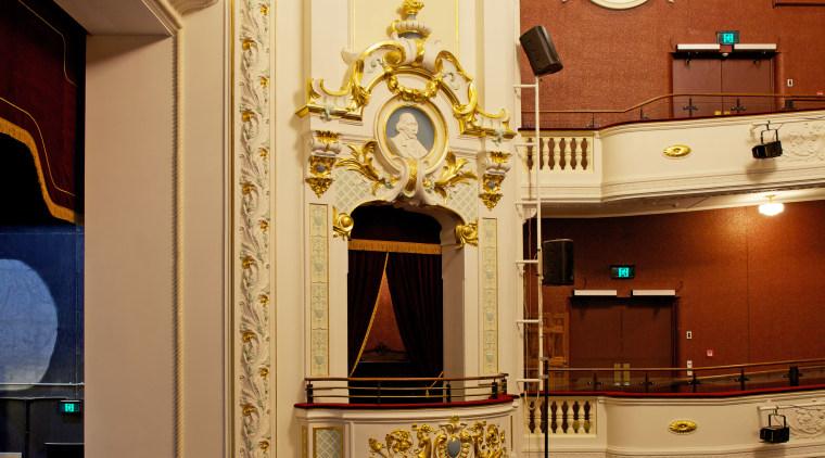 The heritage restoration of the decorative plasterwork at architecture, ceiling, column, furniture, interior design, lobby, orange, brown