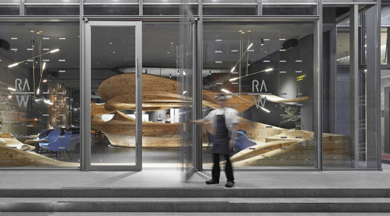The centrepiece of Raw restaurant in Taipei is display window, glass, window, gray, black