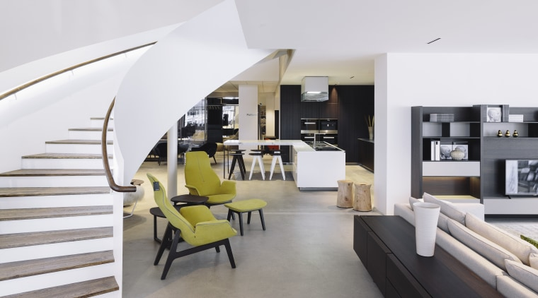 Key architectural features of the Studio Italia showroom architecture, furniture, interior design, living room, product design, white, gray