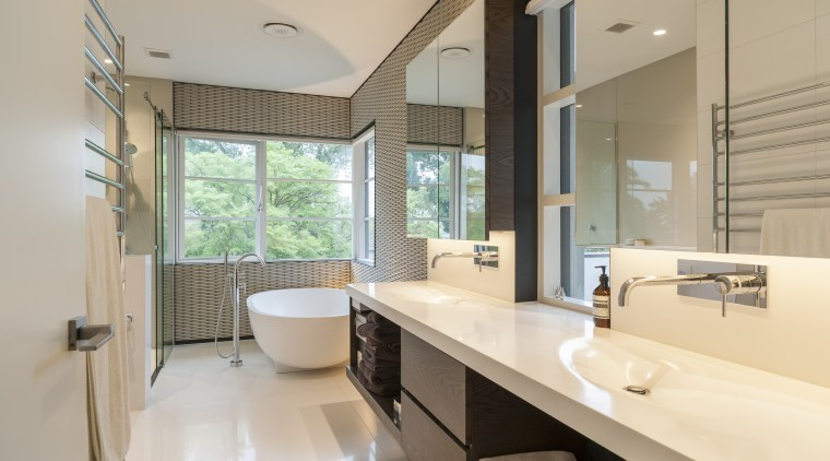 Two key materials in this new bathroom are bathroom, estate, interior design, property, real estate, room, window, orange