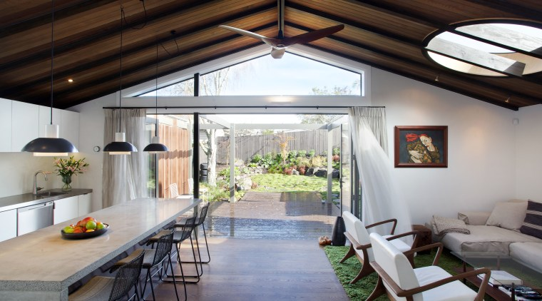 The new family living area in an extension ceiling, daylighting, house, interior design, real estate, roof, gray, black