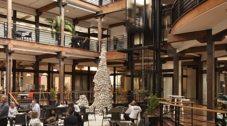 The Saatchi & Saatchi building in Auckland has café, interior design, restaurant, black, brown