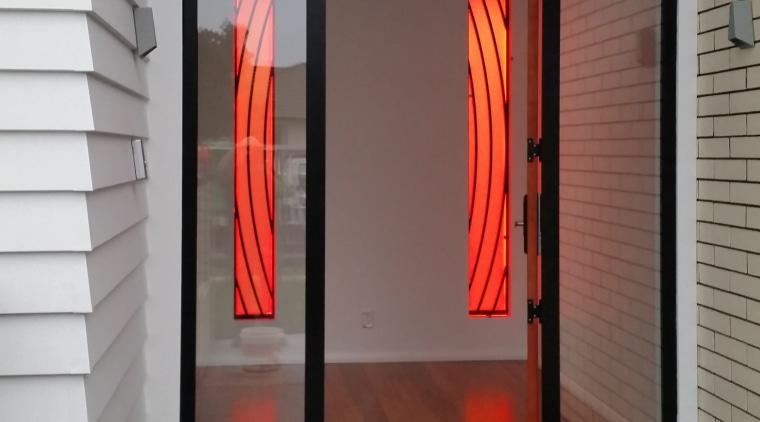 Front door featuring Illuminati back-lit panels door, interior design, gray, black