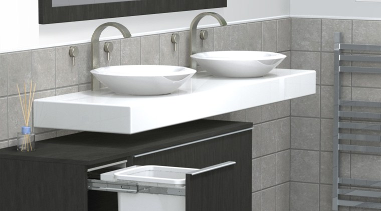 Bathroom clutter is a thing of the past angle, bathroom, bathroom accessory, bathroom cabinet, bathroom sink, floor, furniture, plumbing fixture, product, product design, sink, tap, gray, white