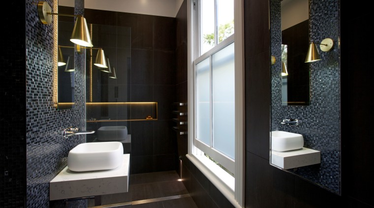 LED lights tucked behind the vanity mirror and architecture, bathroom, floor, interior design, room, black
