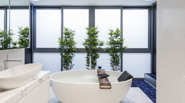 As this bathroom by Kim Duffin is near bathroom, interior design, product design, tap, window, white
