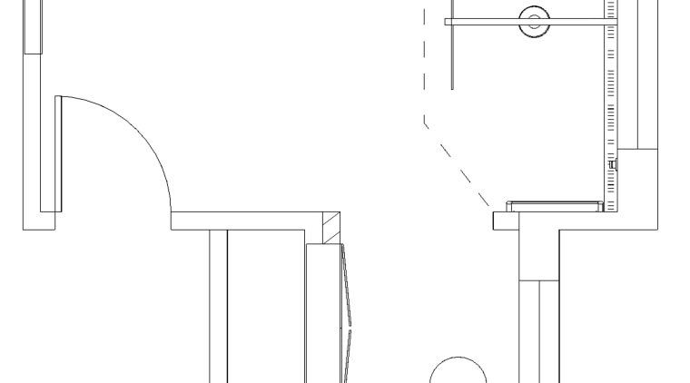 The plan of this bathroom by Owen Barnes angle, area, black and white, design, diagram, drawing, font, furniture, line, line art, monochrome, product, product design, structure, text, white, white