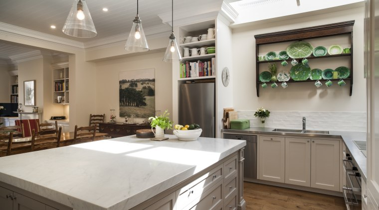 Open to view – this new kitchen opens cabinetry, countertop, cuisine classique, home, interior design, kitchen, real estate, room, gray, brown