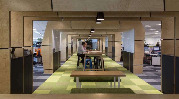 In this fit-out, the upstairs office runway is architecture, interior design, lobby, brown