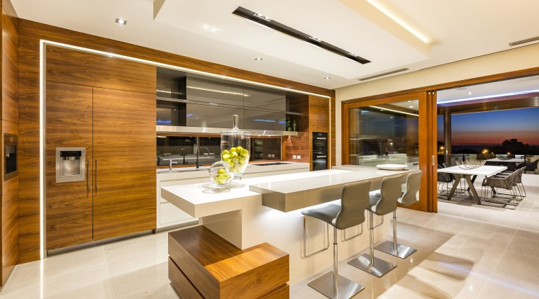Stainless steel meets stone meets the warmth of architecture, interior design, kitchen, real estate, orange, brown