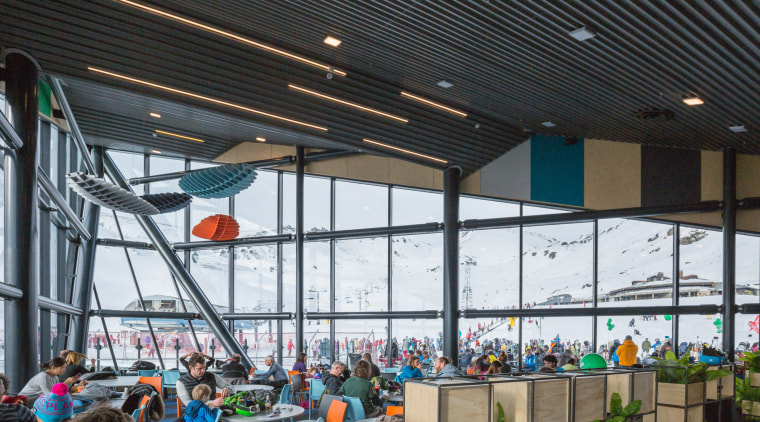 The dramatic new Remarkables Base Building designed by leisure, leisure centre, structure, black