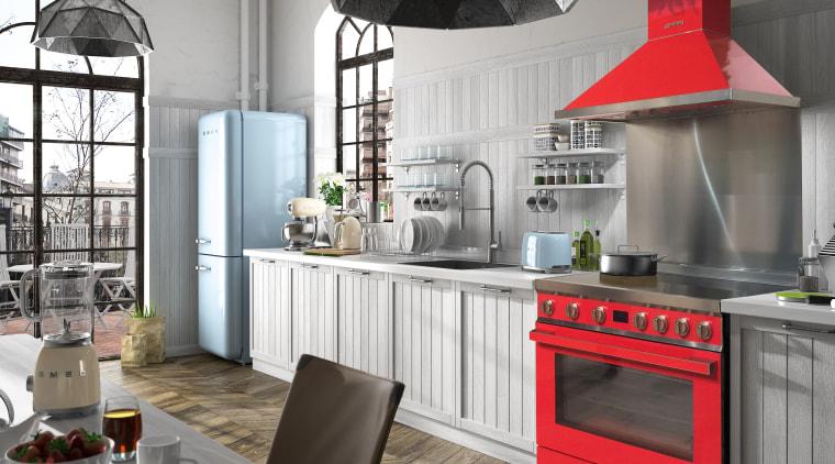 Bold and brand-new, Smeg's colourful Portofino is a countertop, cuisine classique, home appliance, interior design, kitchen, white, gray