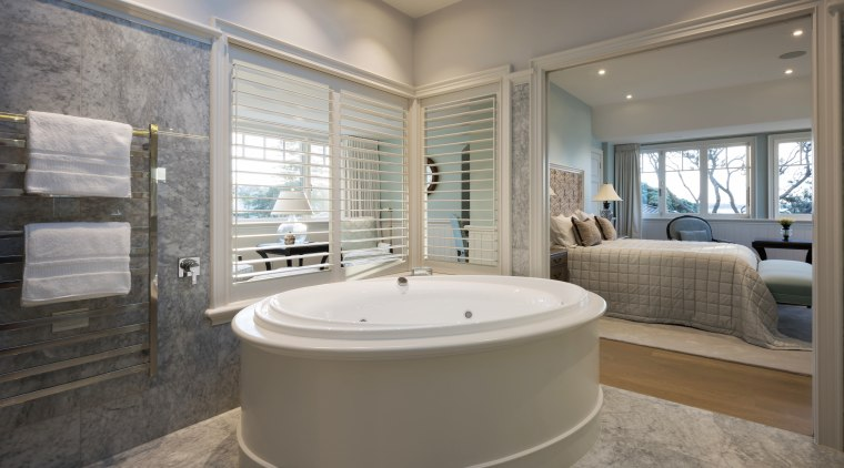 Open sesame – a push of a pocket bathroom, bathtub, estate, floor, home, interior design, real estate, room, window, gray