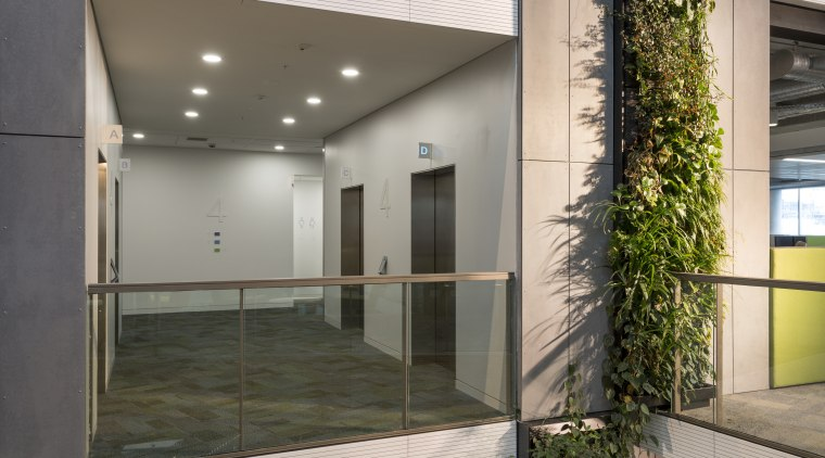 The semi-enclosed lift lobbies at Fonterra's new offices architecture, glass, interior design, lobby, real estate, gray