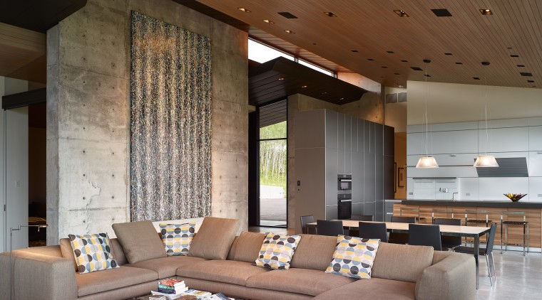 The main entrance to this home can be architecture, ceiling, interior design, living room, lobby, table, wall, brown, gray