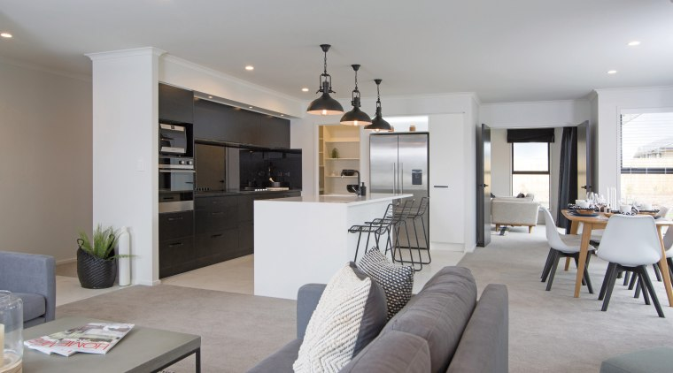 The kitchen is the hub of this family apartment, house, interior design, living room, property, real estate, room, gray