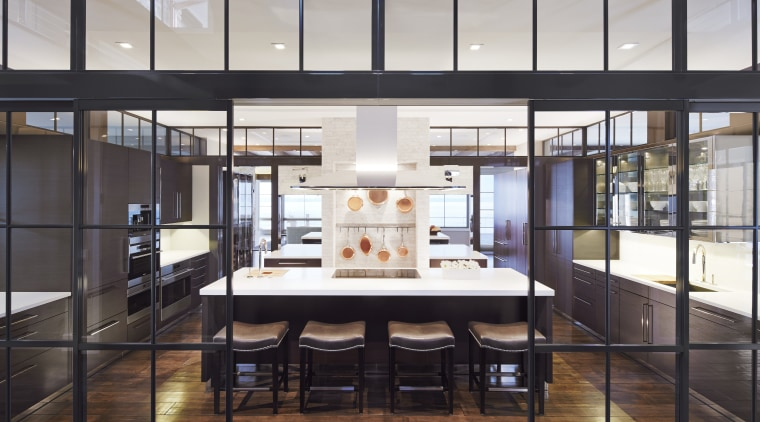 This home's entertaining kitchen is a fully equipped, architecture, interior design, lobby, black, white