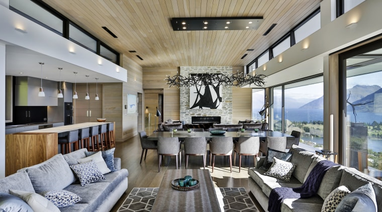 A feature timber ceiling, wood-finished walls and  ceiling, interior design, living room, real estate, gray