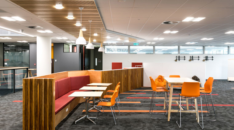 Tea stations feature natural wood joinery custom made ceiling, chair, conference hall, furniture, interior design, office, table, gray, white
