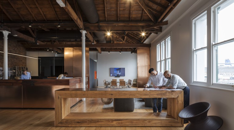 The bespoke copper-clad joinery for architecture firm Peddle ceiling, furniture, interior design, loft, table, wood, black