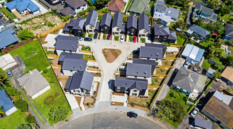 Planning for the future. This Housing New Zealand aerial photography, bird's eye view, city, house, metropolitan area, mixed use, neighbourhood, photography, real estate, residential area, suburb, urban area, urban design