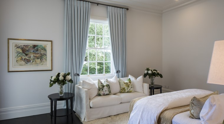 Pale wall tones seen everywhere in this renovated bedroom, ceiling, estate, home, interior design, living room, real estate, room, suite, window, window covering, window treatment, gray